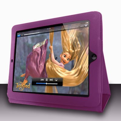 For Apple ipad 2 Cover Leather Case w/ Kick Stand D-Purple