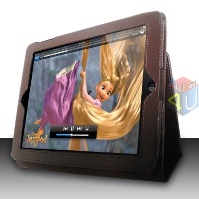 For Apple ipad 2 Cover Leather Case w/ Kick Stand D-Brown