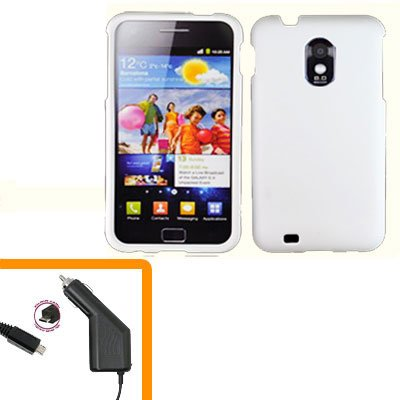 For Samsung Galaxy S II Epic 4G Touch Car Charger +Hard Case White