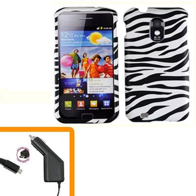 For Samsung Galaxy S II Epic 4G Touch Car Charger +Hard Case Zebra