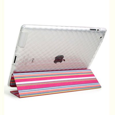 For Apple ipad 2 Cover TPU Case w/ Fold Stand Magenta Stripe