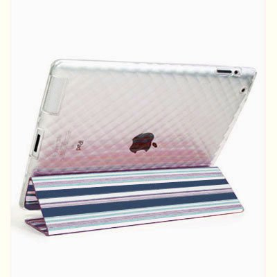 For Apple ipad 2 Cover TPU Case w/ Fold Stand Blue Stripe