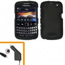 For BlackBerry Curve 9350 9360 9370 Car Charger + Cover Hard Case Black