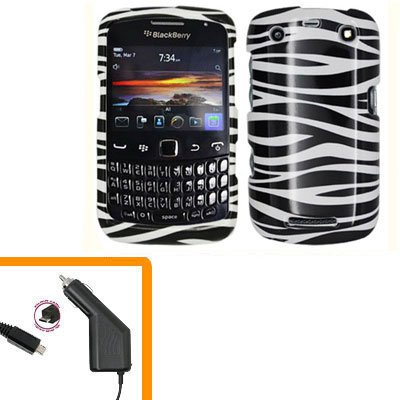 For BlackBerry Curve 9350 9360 9370 Car Charger + Cover Hard Case Zebra