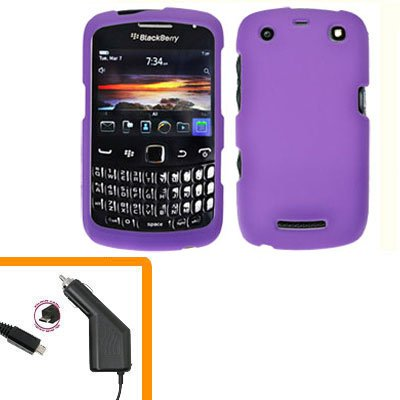 For BlackBerry Curve 9350 9360 9370 Car Charger + Cover Hard Case Purple