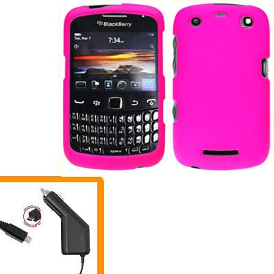 For BlackBerry Curve 9350 9360 9370 Car Charger + Cover Hard Case Hot Pink