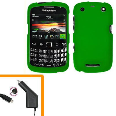 For BlackBerry Curve 9350 9360 9370 Car Charger + Cover Hard Case Green