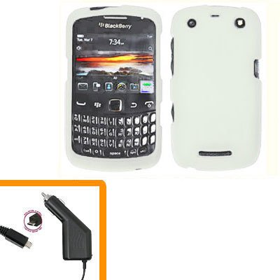 For BlackBerry Curve 9350 9360 9370 Car Charger + Cover Hard Case White
