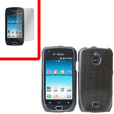 For Samsung Exhibit 4G T759 Cover Hard Case Carbon Fiber +Screen Protector