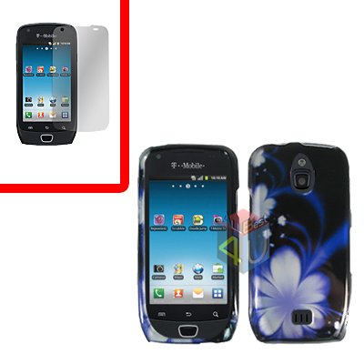 For Samsung Exhibit 4G T759 Cover Hard Case B-Flower +Screen Protector