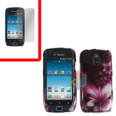 For Samsung Exhibit 4G T759 Cover Hard Case L-Flower +Screen Protector