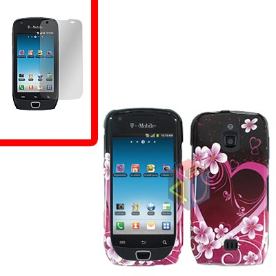 For Samsung Exhibit 4G T759 Cover Hard Case Love +Screen Protector