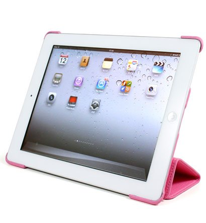 For Apple ipad 2 Cover Leather Case w/ Sleep Mode +Stand #Pink Tri-Pad Coutour