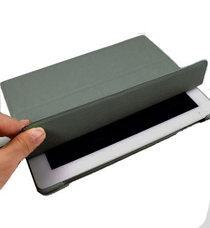 For Apple ipad 2 Cover Leather Case w/ Sleep Mode +Stand #Grey Tri-Pad Coutour