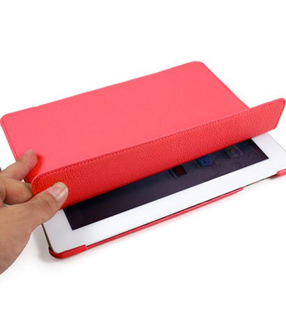 For Apple ipad 2 Cover Leather Case w/ Sleep Mode +Stand #Red Tri-Pad Coutour