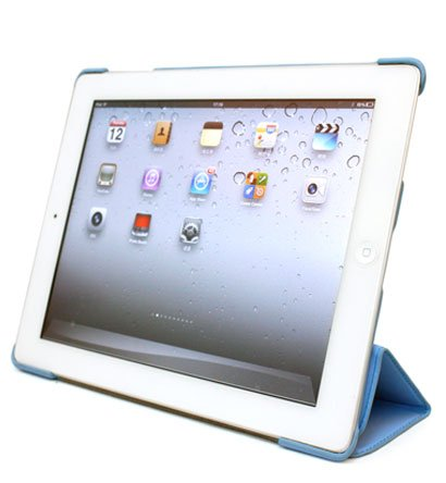 For Apple ipad 2 Cover Case w/ Smart Mode / Fold Stand #Baby-Blue Tri-Pad Shell