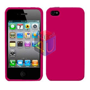 For Apple iphone 4S 4 Cover Hard Case Rubberized Rose Pink