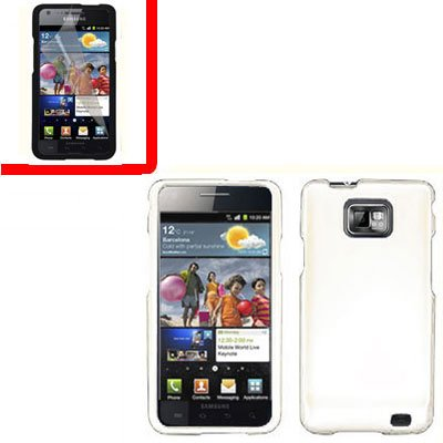 For AT&T Samsung Galaxy S II SGH-i777 Cover Hard Case White +Screen 2 in1
