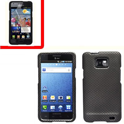 For AT&T Samsung Galaxy S II SGH-i777 Cover Hard Case Carbon Fiber +Screen 2 in1