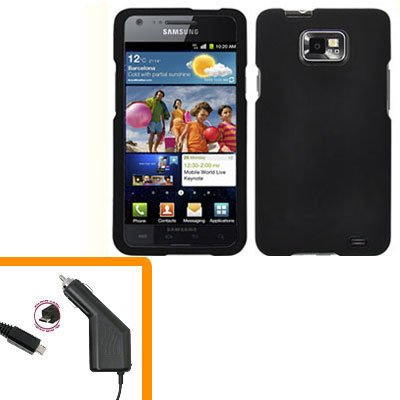 For AT&T Samsung Galaxy S II SGH-i777 Car Charger +Hard Case Black Cover