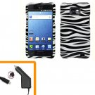 For AT&T Samsung Galaxy S II SGH-i777 Car Charger +Hard Case Zebra Cover