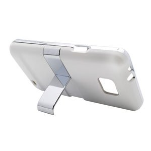 For AT&T Samsung Galaxy S II GT-9100 Cover Hard Phone Case Chrome/ White w Stand