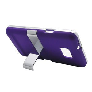 For AT&T Samsung Galaxy S II GT-9100 Cover Hard Phone Case Chrome/ Purple w Stand