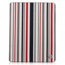 For Apple ipad 2 Cover TPU Case w/ Fold Stand Red Stripe