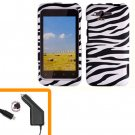 For HTC Rhyme Car Charger + Cover Hard Phone Case Zebra