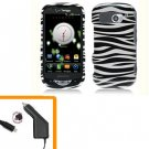 For Pantech Breakout Car Charger + Cover Hard Case Zebra 2-in-1