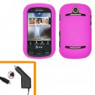 For Pantech Pursuit II Car Charger + Cover Hard Case H-Pink  2-in-1
