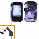 For Pantech Pursuit II Car Charger + Cover Hard Case B-Flower 2-in-1