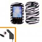 For Pantech Pursuit II Car Charger + Cover Hard Case Zebra 2-in-1