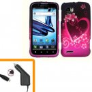 For Motorola Atrix 2 4G MB865 Car Charger +Cover Hard Case Love 2-in-1