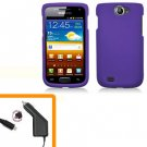 For Samsung Exhibit II 4G T679 Car Charger +Hard Cover Case Purple