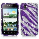 For LG Marquee LS855/ Optimus Black P970 Cover Hard Case Crystal Bling purple Zebra