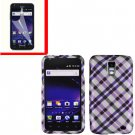 For AT&T Samsung Galaxy S II Skyrocket Cover Hard Case Purple Plaid +Screen