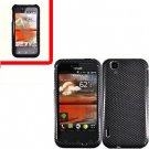 For LG MyTouch 4G / Optimus Sol Cover Hard Case Carbon Fiber +Screen 2in1