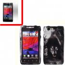 For Motorola Droid Razr Cover Hard Case Wolf +Screen 2-in-1
