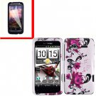For HTC Radar 4G Cover Hard Case W-Flower +Screen Protector 2-in-1