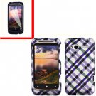 For HTC Radar 4G Cover Hard Case Purple Plaid +Screen Protector 2-in-1