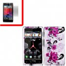 For Motorola Razr Cover Hard Case W-Flower +Screen 2-in-1