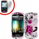 For LG Optimus-T / P509 Hard Case W-Flower +Screen Protector  2-in-1