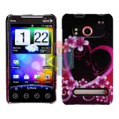 For HTC Evo 4G Cover Hard Case Love +Screen 2-in-1