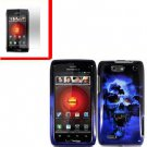 For Motorola Droid 4 XT894 Cover Hard Case Blue Skull +Screen 2-in-1