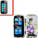 For Nokia Lumia 710 Cover Hard Green Lily Case +Screen Protector