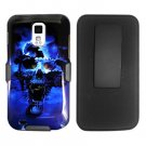 For Samsung Galaxy S II SGH-T989 Cover Blue Skull Case +Texture Holster Belt Clp +Stand