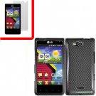 For Verizon LG Lucid 4G LTE Cover Hard Case Carbon Fiber +Screen 2in1