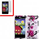 For Verizon LG Lucid 4G LTE Cover Hard Case W-Flower +Screen 2in1