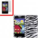 For Verizon LG Lucid 4G LTE Cover Hard Case Zebra +Screen 2in1